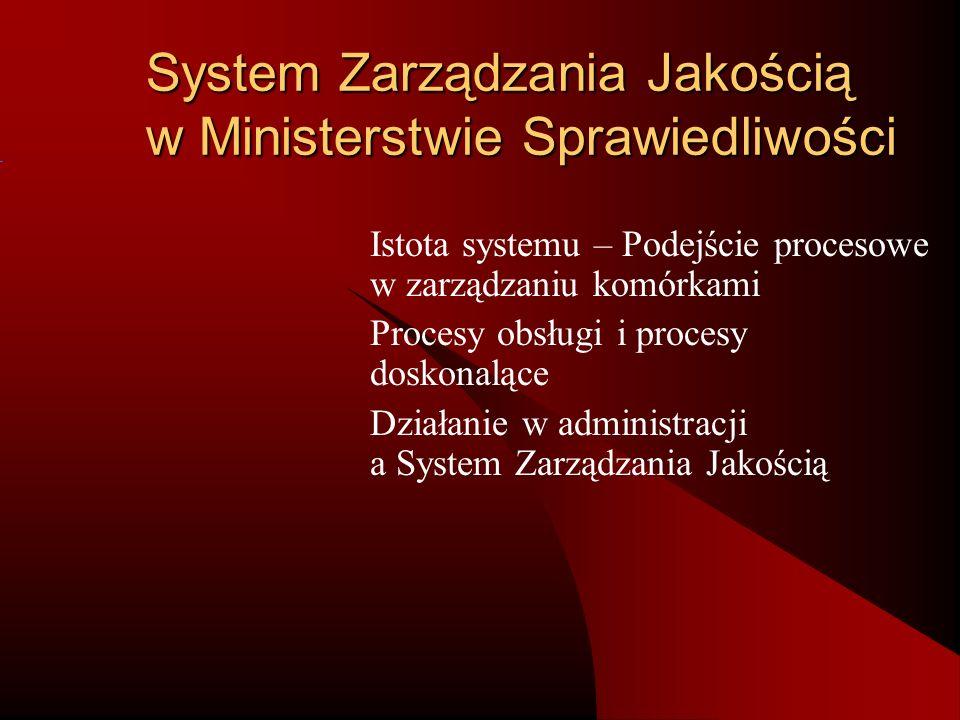 Zakres działania komórek pilotażowych – podejście procesowe Definiowanie metod i obszarów informatyzacji Realizacja zadań informatyzacyjnych Eksploatacja systemów informatycznych Realizacja zadań merytorycznych dla systemów centralnych Wydawanie Monitora Sądowego i Gospodarczego Wydawanie Dziennika Urzędowego Ministra Sprawiedliwości Procesy obsługi (zasoby finansowe, zasoby ludzkie, środowisko i infrastruktura, zakupy) Nadzór nad jednostkami resortu Realizacja działań doskonalących (zadowolenie klienta, przeglądy systemu działania zapobiegawczo-korygujące, audyty SZJ) PROCESY WSPOMAGAJĄCE