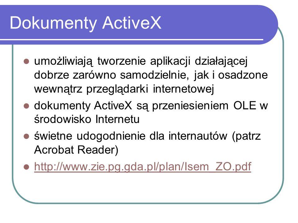 Scripting stwarza możliwość kontrolowania wykonania kontrolek ActiveX umożliwia tworzenie interaktywnych stron WWW skrypty są pisane w językach JavaScript i VBScript wstawiając kontrolkę na stronę www wykorzystujemy znacznik