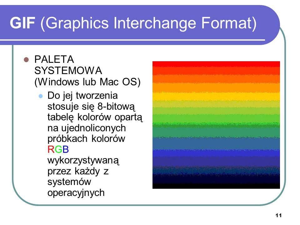 11 GIF (Graphics Interchange Format) PALETA SYSTEMOWA (Windows lub Mac OS) Do jej tworzenia stosuje się 8-bitową tabelę kolorów opartą na ujednolicony