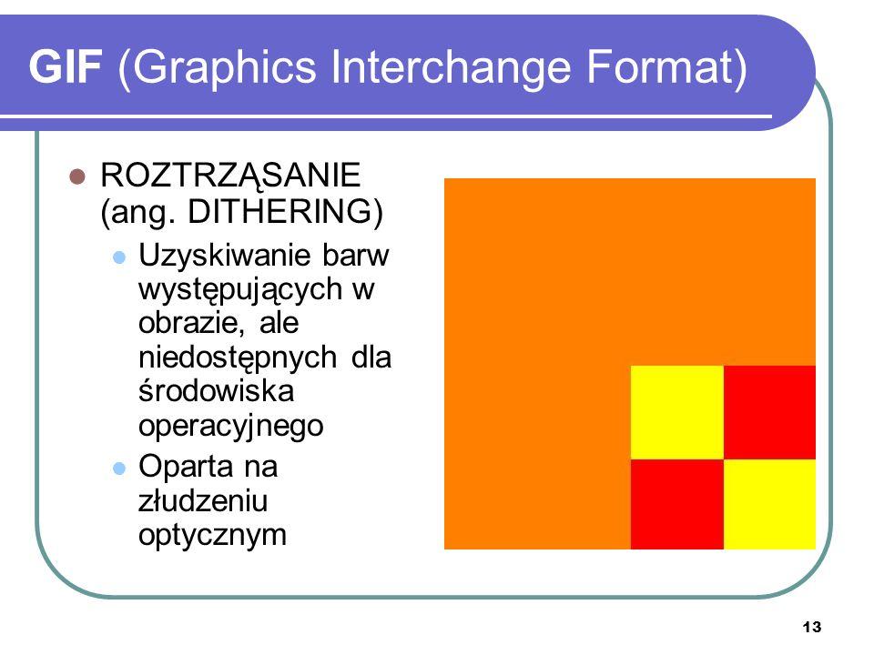 13 GIF (Graphics Interchange Format) ROZTRZĄSANIE (ang. DITHERING) Uzyskiwanie barw występujących w obrazie, ale niedostępnych dla środowiska operacyj