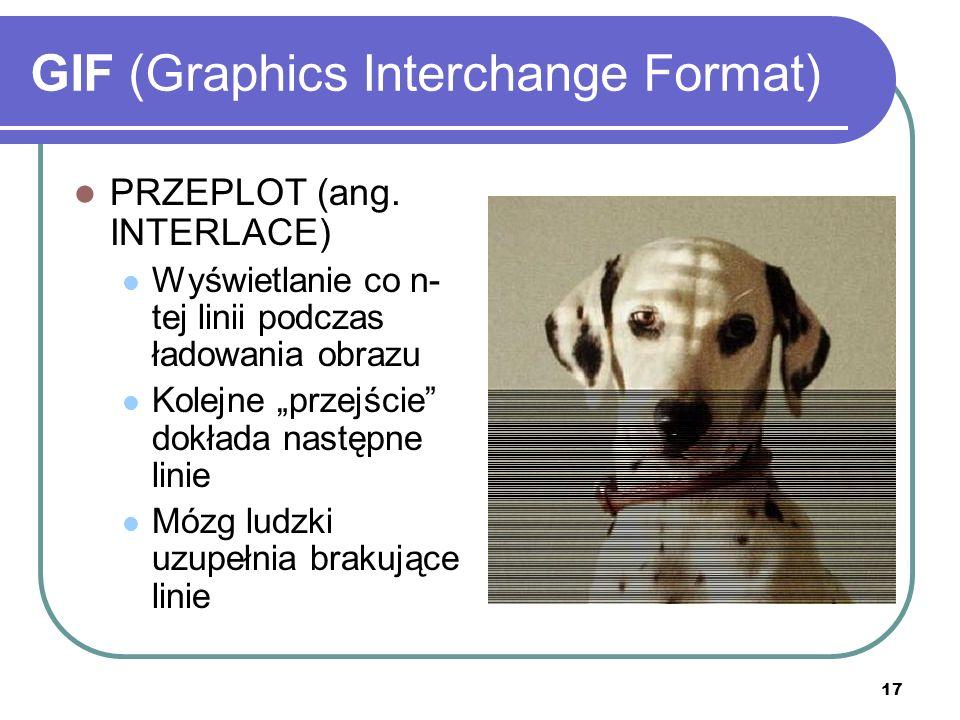 17 GIF (Graphics Interchange Format) PRZEPLOT (ang. INTERLACE) Wyświetlanie co n- tej linii podczas ładowania obrazu Kolejne przejście dokłada następn