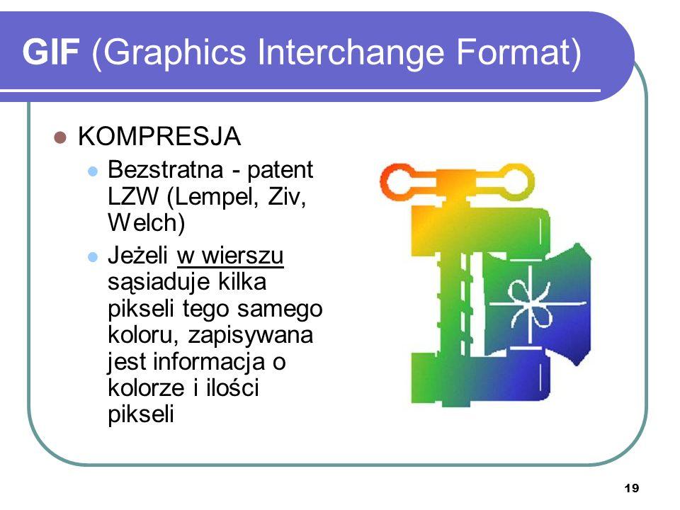 19 GIF (Graphics Interchange Format) KOMPRESJA Bezstratna - patent LZW (Lempel, Ziv, Welch) Jeżeli w wierszu sąsiaduje kilka pikseli tego samego kolor