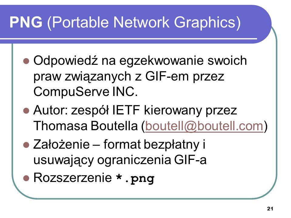 21 PNG (Portable Network Graphics) Odpowiedź na egzekwowanie swoich praw związanych z GIF-em przez CompuServe INC. Autor: zespół IETF kierowany przez