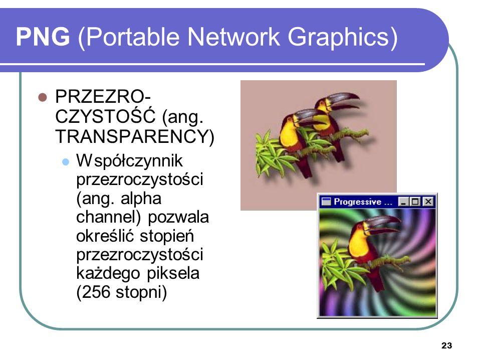 23 PNG (Portable Network Graphics) PRZEZRO- CZYSTOŚĆ (ang. TRANSPARENCY) Współczynnik przezroczystości (ang. alpha channel) pozwala określić stopień p