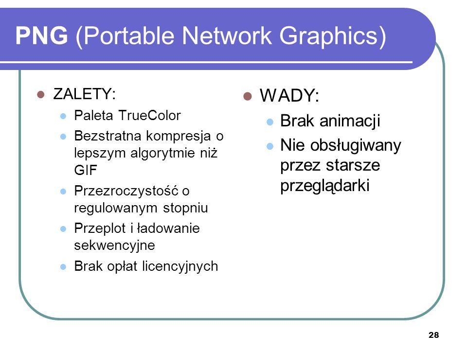 28 PNG (Portable Network Graphics) ZALETY: Paleta TrueColor Bezstratna kompresja o lepszym algorytmie niż GIF Przezroczystość o regulowanym stopniu Pr