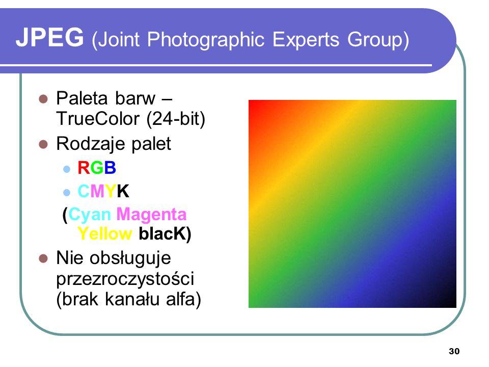 30 JPEG (Joint Photographic Experts Group) Paleta barw – TrueColor (24-bit) Rodzaje palet RGB CMYK (Cyan Magenta Yellow blacK) Nie obsługuje przezrocz