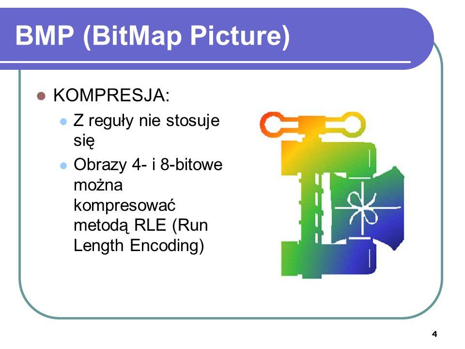 4 BMP (BitMap Picture) KOMPRESJA: Z reguły nie stosuje się Obrazy 4- i 8-bitowe można kompresować metodą RLE (Run Length Encoding)