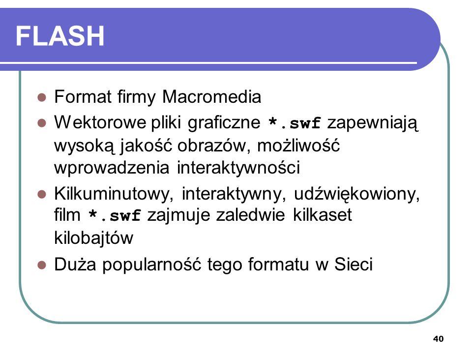 40 FLASH Format firmy Macromedia Wektorowe pliki graficzne *.swf zapewniają wysoką jakość obrazów, możliwość wprowadzenia interaktywności Kilkuminutow