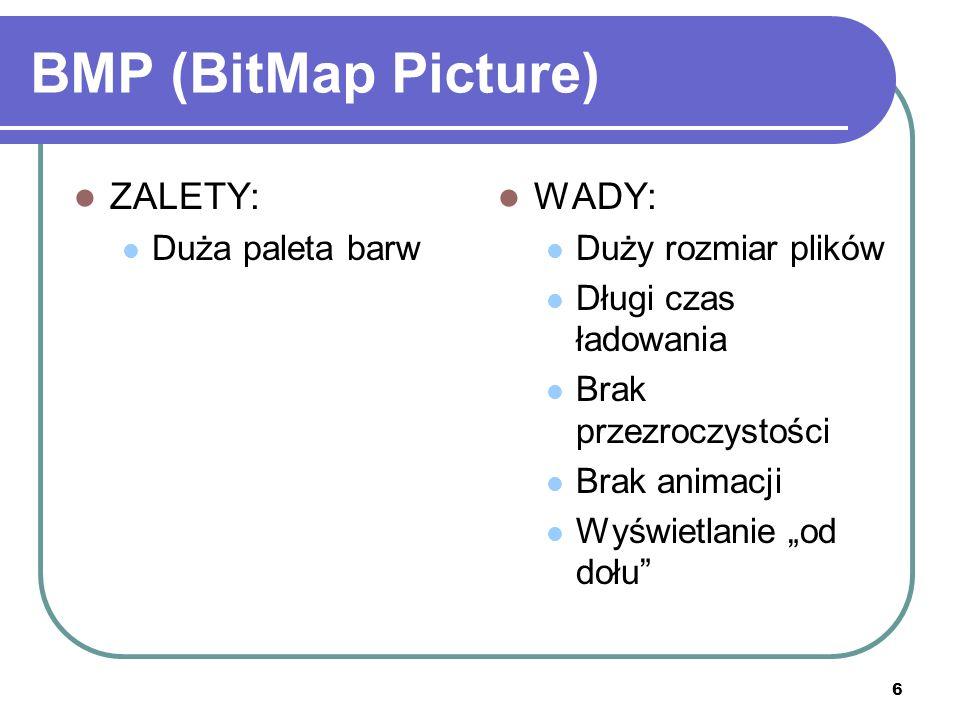 6 BMP (BitMap Picture) ZALETY: Duża paleta barw WADY: Duży rozmiar plików Długi czas ładowania Brak przezroczystości Brak animacji Wyświetlanie od doł