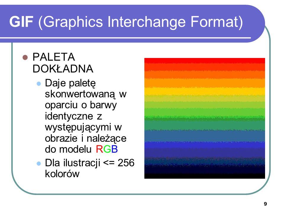 9 GIF (Graphics Interchange Format) PALETA DOKŁADNA Daje paletę skonwertowaną w oparciu o barwy identyczne z występującymi w obrazie i należące do mod
