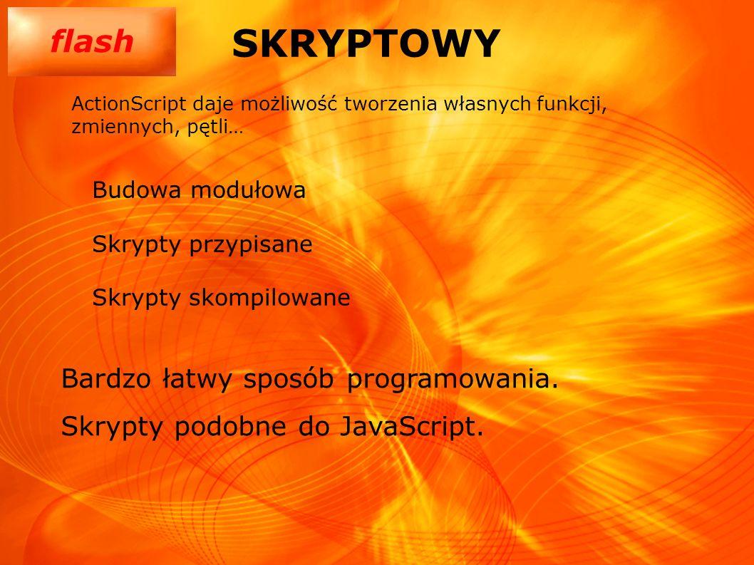 flash SKRYPTOWY Budowa modułowa Skrypty przypisane Skrypty skompilowane ActionScript daje możliwość tworzenia własnych funkcji, zmiennych, pętli… Bard