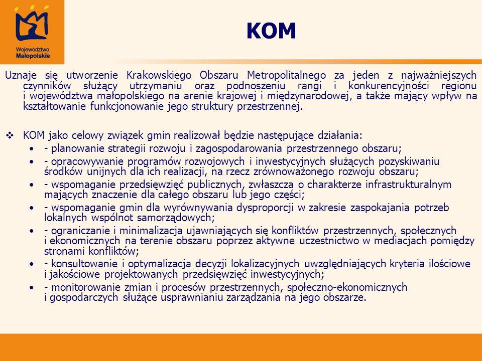KOM Uznaje się utworzenie Krakowskiego Obszaru Metropolitalnego za jeden z najważniejszych czynników służący utrzymaniu oraz podnoszeniu rangi i konku