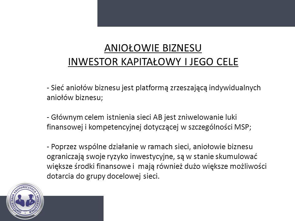 - Sieć aniołów biznesu jest platformą zrzeszającą indywidualnych aniołów biznesu; - Głównym celem istnienia sieci AB jest zniwelowanie luki finansowej