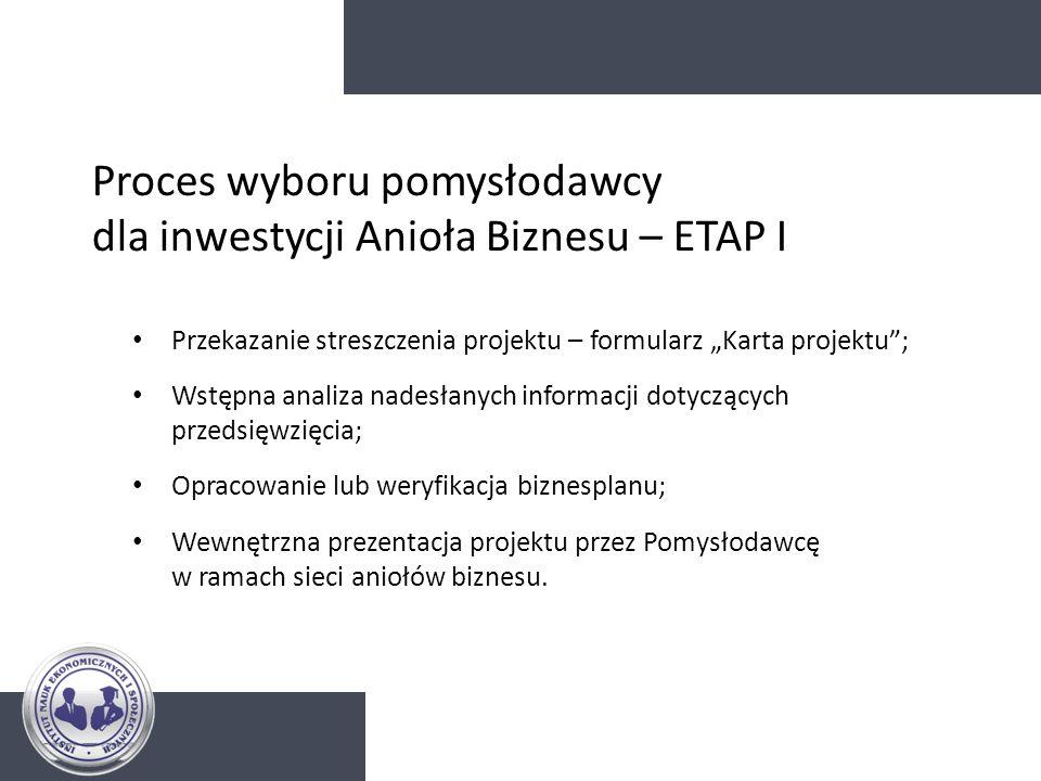 Proces wyboru pomysłodawcy dla inwestycji Anioła Biznesu – ETAP I Przekazanie streszczenia projektu – formularz Karta projektu; Wstępna analiza nadesł