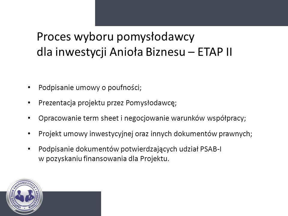 Proces wyboru pomysłodawcy dla inwestycji Anioła Biznesu – ETAP II Podpisanie umowy o poufności; Prezentacja projektu przez Pomysłodawcę; Opracowanie