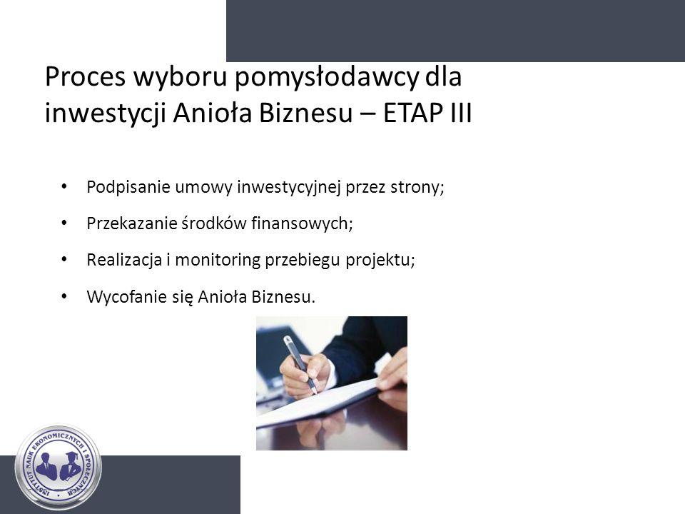 Proces wyboru pomysłodawcy dla inwestycji Anioła Biznesu – ETAP III Podpisanie umowy inwestycyjnej przez strony; Przekazanie środków finansowych; Real