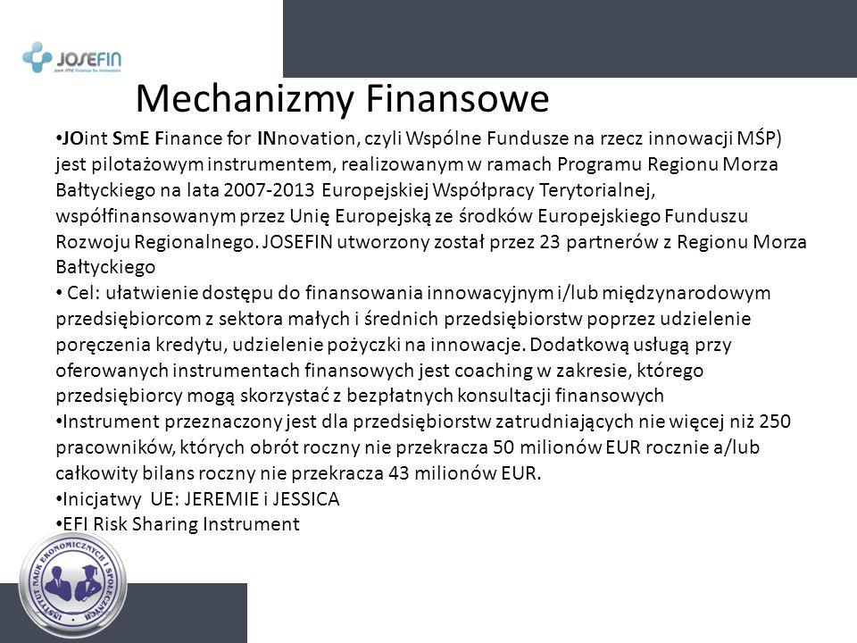 Mechanizmy Finansowe JOint SmE Finance for INnovation, czyli Wspólne Fundusze na rzecz innowacji MŚP) jest pilotażowym instrumentem, realizowanym w ra