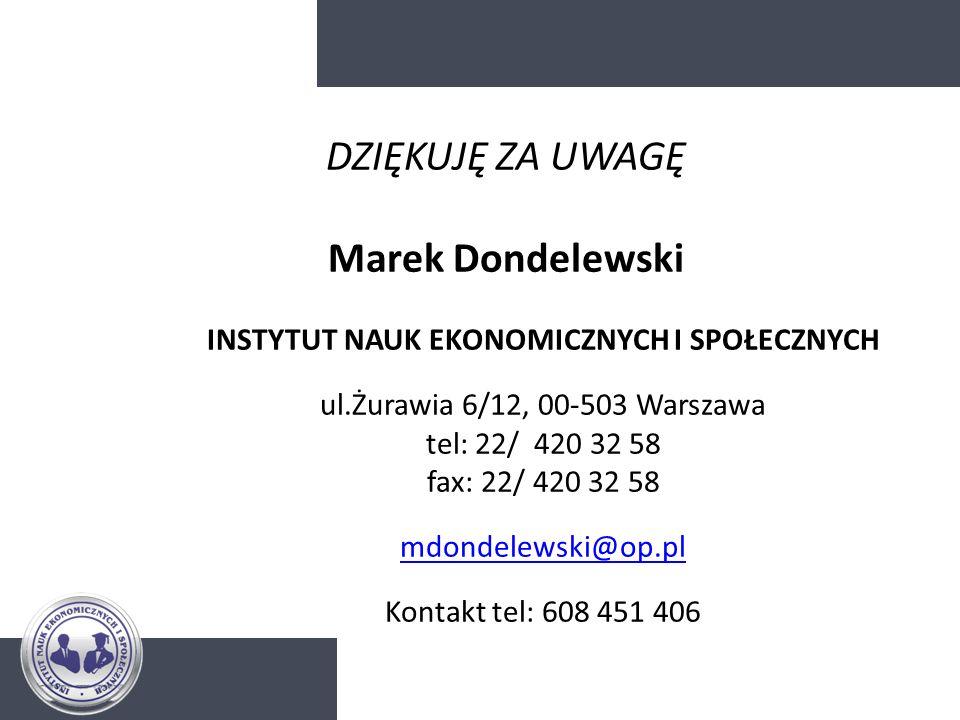 DZIĘKUJĘ ZA UWAGĘ Marek Dondelewski INSTYTUT NAUK EKONOMICZNYCH I SPOŁECZNYCH ul.Żurawia 6/12, 00-503 Warszawa tel: 22/ 420 32 58 fax: 22/ 420 32 58 m