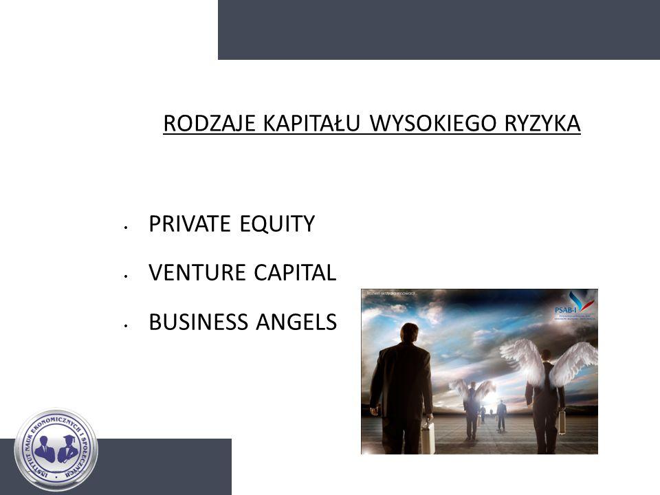 RODZAJE KAPITAŁU WYSOKIEGO RYZYKA PRIVATE EQUITY VENTURE CAPITAL BUSINESS ANGELS