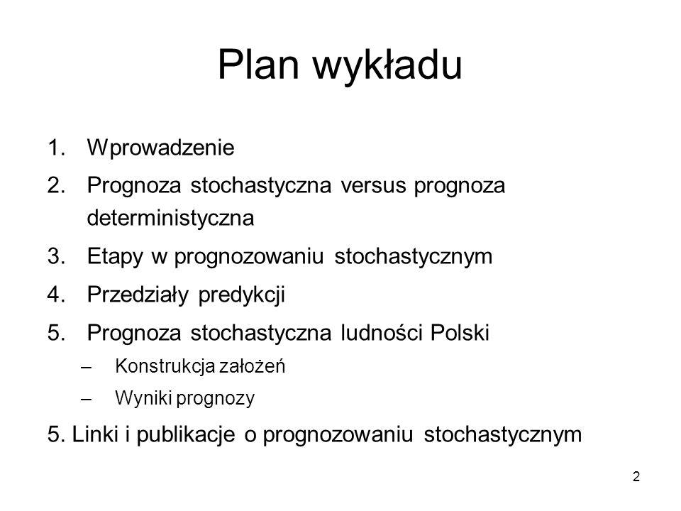 2 Plan wykładu 1.Wprowadzenie 2.Prognoza stochastyczna versus prognoza deterministyczna 3.Etapy w prognozowaniu stochastycznym 4.Przedziały predykcji