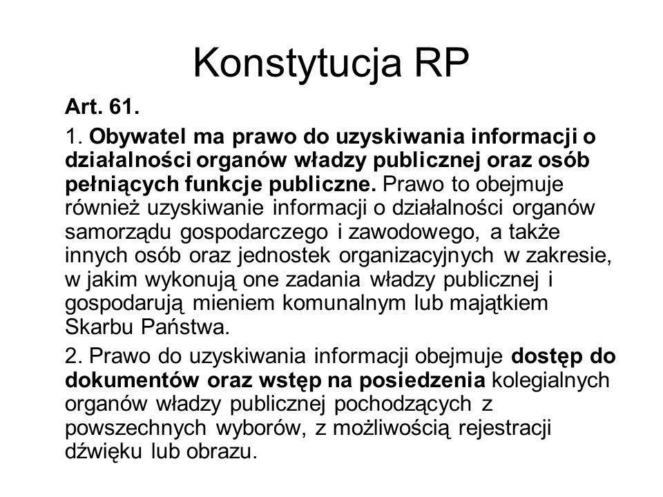 Konstytucja RP Art. 61. 1. Obywatel ma prawo do uzyskiwania informacji o działalności organów władzy publicznej oraz osób pełniących funkcje publiczne