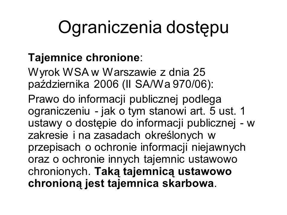 Ograniczenia dostępu Tajemnice chronione: Wyrok WSA w Warszawie z dnia 25 października 2006 (II SA/Wa 970/06): Prawo do informacji publicznej podlega
