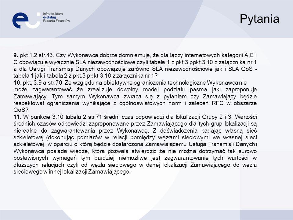 Pytania 9. pkt 1.2 str.43. Czy Wykonawca dobrze domniemuje, że dla łączy internetowych kategorii A,B i C obowiązuje wyłącznie SLA niezawodnościowe czy