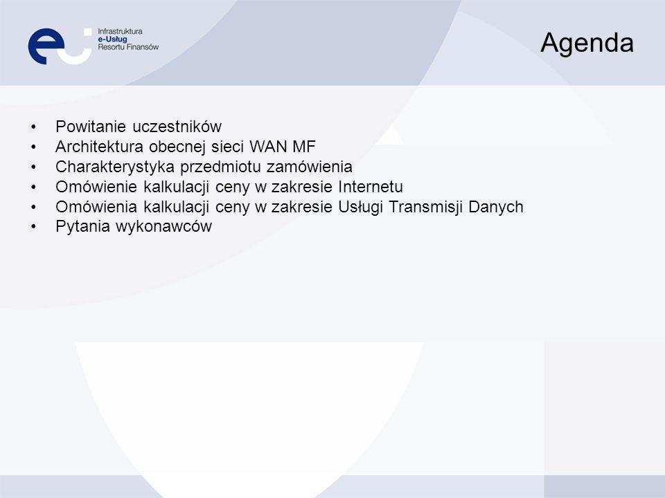 Agenda Powitanie uczestników Architektura obecnej sieci WAN MF Charakterystyka przedmiotu zamówienia Omówienie kalkulacji ceny w zakresie Internetu Om