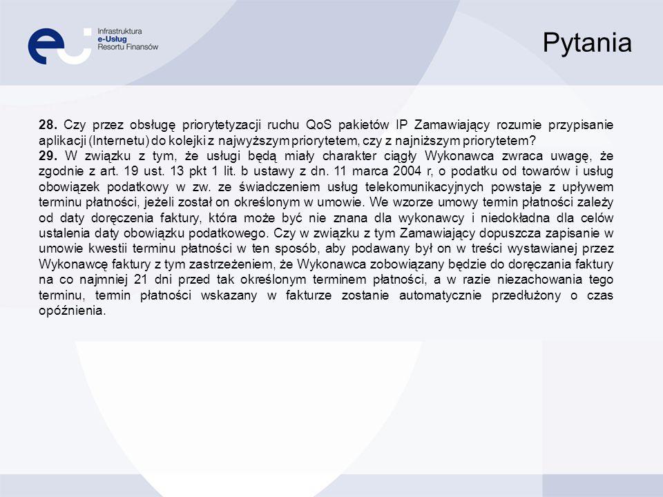 Pytania 28. Czy przez obsługę priorytetyzacji ruchu QoS pakietów IP Zamawiający rozumie przypisanie aplikacji (Internetu) do kolejki z najwyższym prio