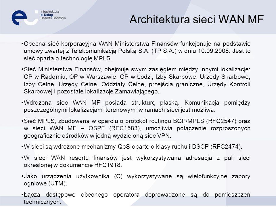 Architektura sieci WAN MF Obecna sieć korporacyjna WAN Ministerstwa Finansów funkcjonuje na podstawie umowy zwartej z Telekomunikacją Polską S.A. (TP