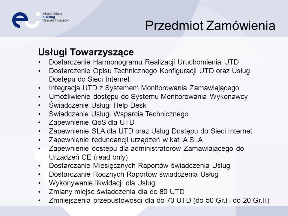 Przedmiot Zamówienia Usługi Towarzyszące Dostarczenie Harmonogramu Realizacji Uruchomienia UTD Dostarczenie Opisu Technicznego Konfiguracji UTD oraz U