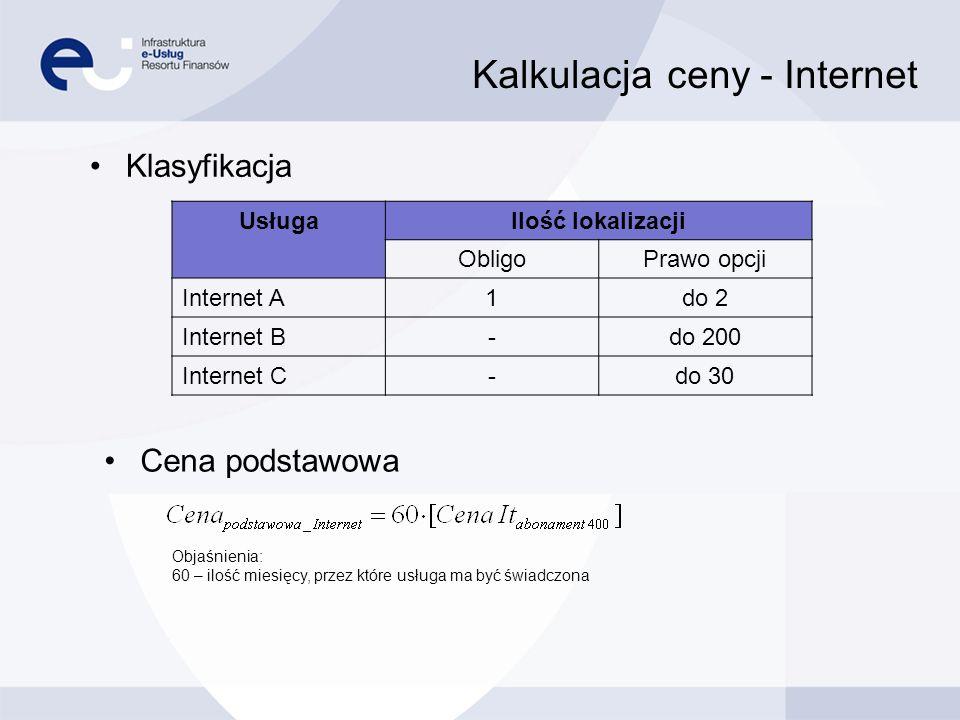 Kalkulacja ceny - Internet Przepustowość [Mb/s] Usługa Internet A [Mb/s] Internet B [Mb/s] Internet C [Mb/s] 6- - 10- 400 -- 500-- 600-- 700-- 800-- Zwiększanie o 100 Mb/s w ramach Prawa Opcji Zwiększanie Cena max = Cena podstawowa_Internet + 12000·Cena It abonament 10 +1800·Cena It abonament C + 120·Cena It abonament 400 +36·(Cena It abonament 500 - Cena It abonament 400 ) + 36·(Cena It abonament 600 - Cena It abonament 400 ) +36·(Cena It abonament 700 - Cena It abonament 400 ) + 36·(Cena It abonament 800 - Cena It abonament 400 ) Cena przy maksymalnym wykorzystaniu prawa opcji Objaśnienia: 12000 = 200·60 – (maksymalna ilość lokalizacji) x (ilość miesięcy, przez które usługa może być świadczona) 1800 = 30·60 – (maksymalna ilość lokalizacji) x (ilość miesięcy, przez które usługa może być świadczona) 120 = 2·60 – (maksymalna ilość lokalizacji) x (ilość miesięcy, przez które usługa może być świadczona) 36 = 3·12 – (maksymalna ilość lokalizacji) x (ilość miesięcy, przez które zwiększenie usługi ma obowiązywać)