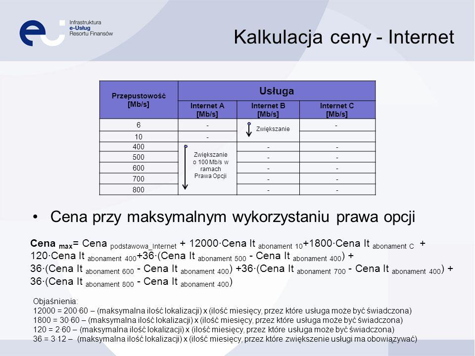 Kalkulacja ceny - Internet Przepustowość [Mb/s] Usługa Internet A [Mb/s] Internet B [Mb/s] Internet C [Mb/s] 6- - 10- 400 -- 500-- 600-- 700-- 800-- Z