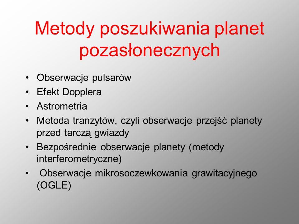 Metody poszukiwania planet pozasłonecznych Obserwacje pulsarów Efekt Dopplera Astrometria Metoda tranzytów, czyli obserwacje przejść planety przed tar
