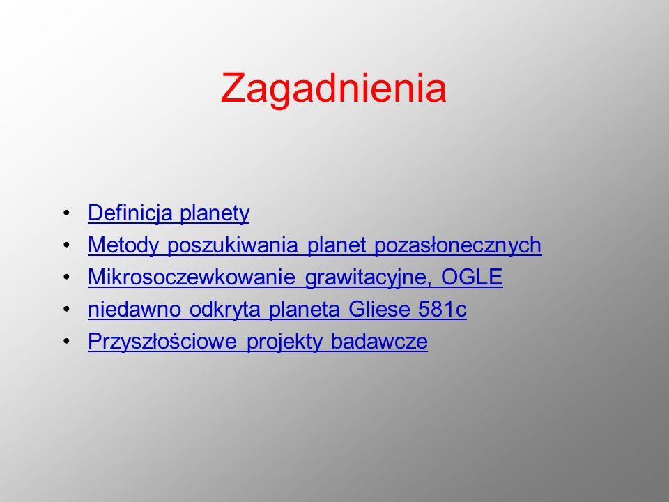 Zagadnienia Definicja planety Metody poszukiwania planet pozasłonecznych Mikrosoczewkowanie grawitacyjne, OGLE niedawno odkryta planeta Gliese 581c Pr