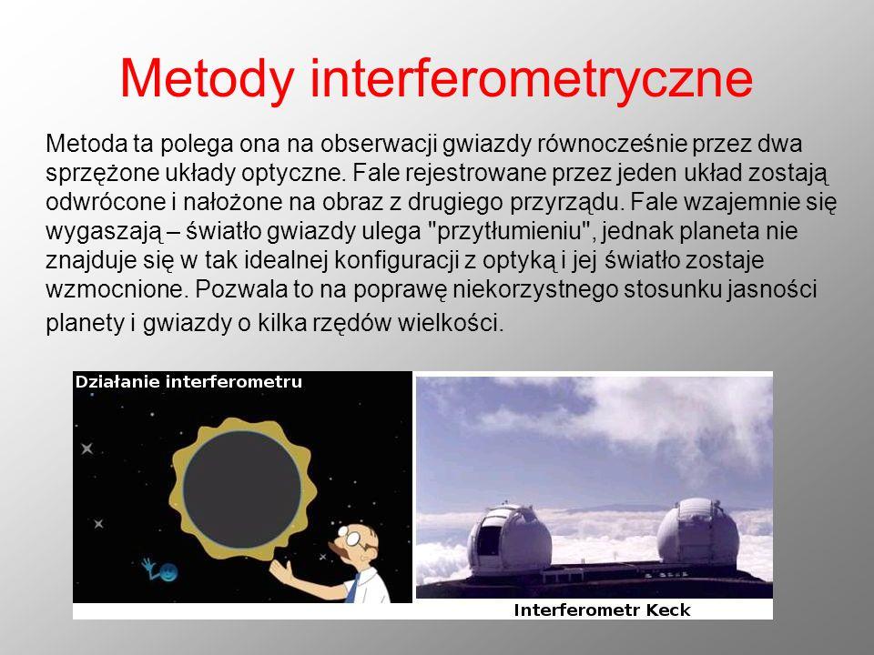 Metody interferometryczne Metoda ta polega ona na obserwacji gwiazdy równocześnie przez dwa sprzężone układy optyczne. Fale rejestrowane przez jeden u