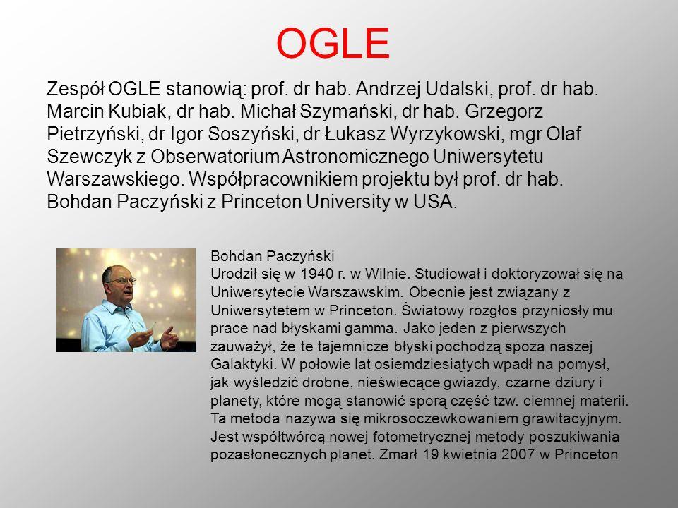 OGLE Zespół OGLE stanowią: prof. dr hab. Andrzej Udalski, prof. dr hab. Marcin Kubiak, dr hab. Michał Szymański, dr hab. Grzegorz Pietrzyński, dr Igor