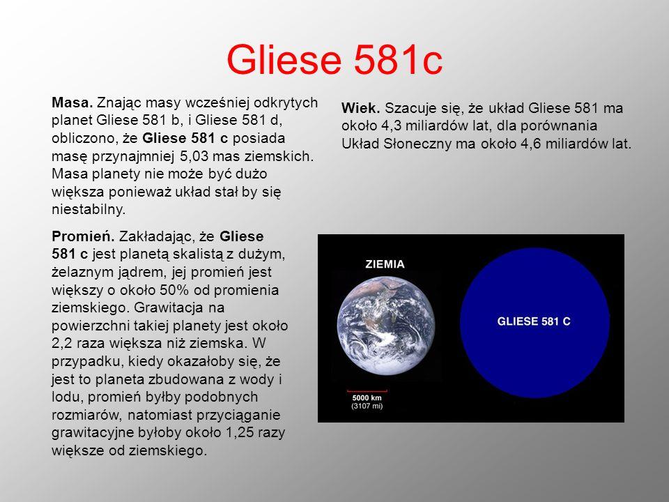 Gliese 581c Masa. Znając masy wcześniej odkrytych planet Gliese 581 b, i Gliese 581 d, obliczono, że Gliese 581 c posiada masę przynajmniej 5,03 mas z