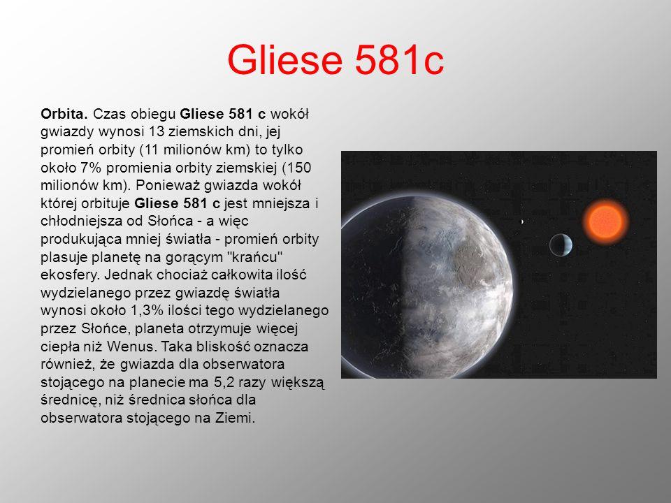 Gliese 581c Orbita. Czas obiegu Gliese 581 c wokół gwiazdy wynosi 13 ziemskich dni, jej promień orbity (11 milionów km) to tylko około 7% promienia or