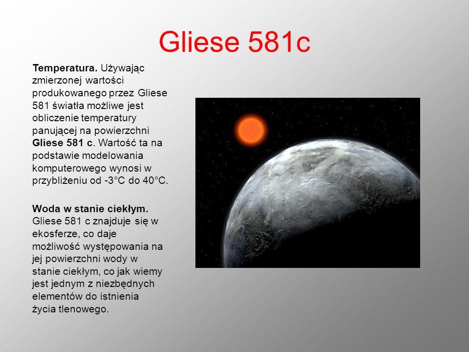 Gliese 581c Temperatura. Używając zmierzonej wartości produkowanego przez Gliese 581 światła możliwe jest obliczenie temperatury panującej na powierzc