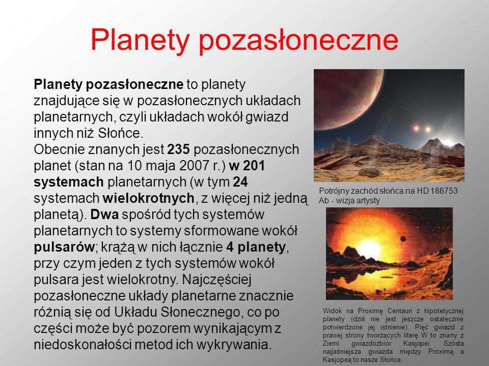 Planety pozasłoneczne Planety pozasłoneczne to planety znajdujące się w pozasłonecznych układach planetarnych, czyli układach wokół gwiazd innych niż