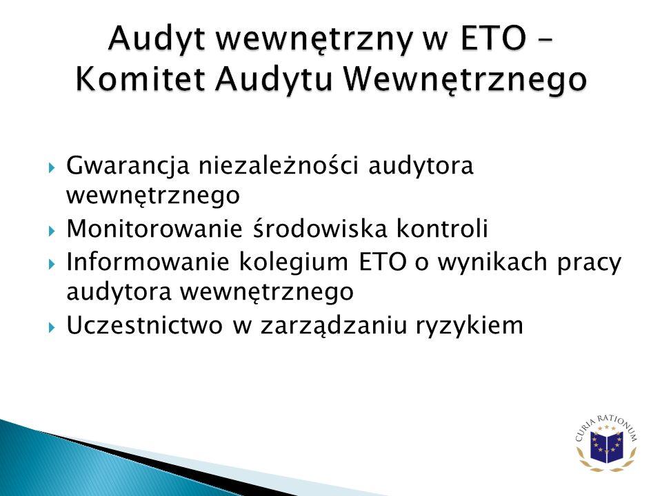 Gwarancja niezależności audytora wewnętrznego Monitorowanie środowiska kontroli Informowanie kolegium ETO o wynikach pracy audytora wewnętrznego Uczestnictwo w zarządzaniu ryzykiem