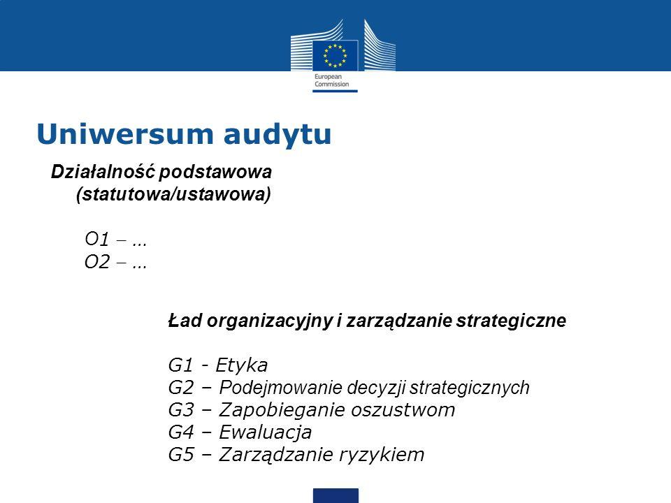 Uniwersum audytu Ład organizacyjny i zarządzanie strategiczne G1 - Etyka G2 – Podejmowanie decyzji strategicznych G3 – Zapobieganie oszustwom G4 – Ewa