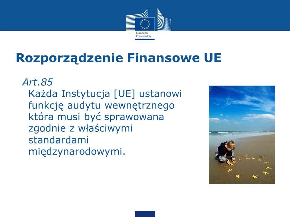 Rozporządzenie Finansowe UE Art.85 Każda Instytucja [UE] ustanowi funkcję audytu wewnętrznego która musi być sprawowana zgodnie z właściwymi standarda