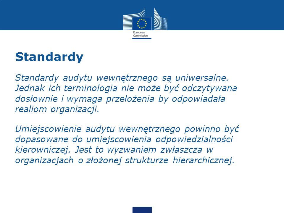 Standardy Standardy audytu wewnętrznego są uniwersalne. Jednak ich terminologia nie może być odczytywana dosłownie i wymaga przełożenia by odpowiadała