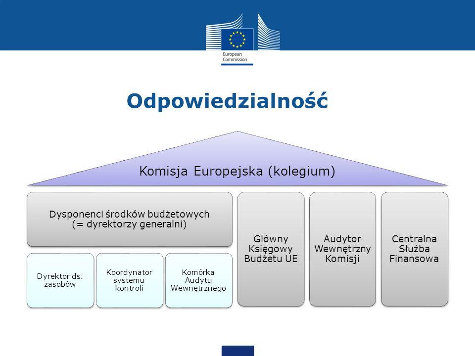 Odpowiedzialność Komisja Europejska (kolegium) Dysponenci środków budżetowych (= dyrektorzy generalni) Dyrektor ds. zasobów Koordynator systemu kontro