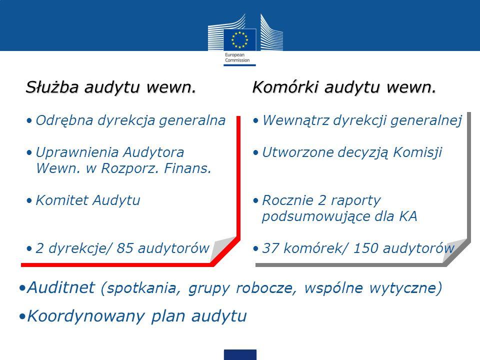 Komórki audytu wewn. Wewnątrz dyrekcji generalnej Utworzone decyzją Komisji Rocznie 2 raporty podsumowujące dla KA 37 komórek/ 150 audytorów Służba au