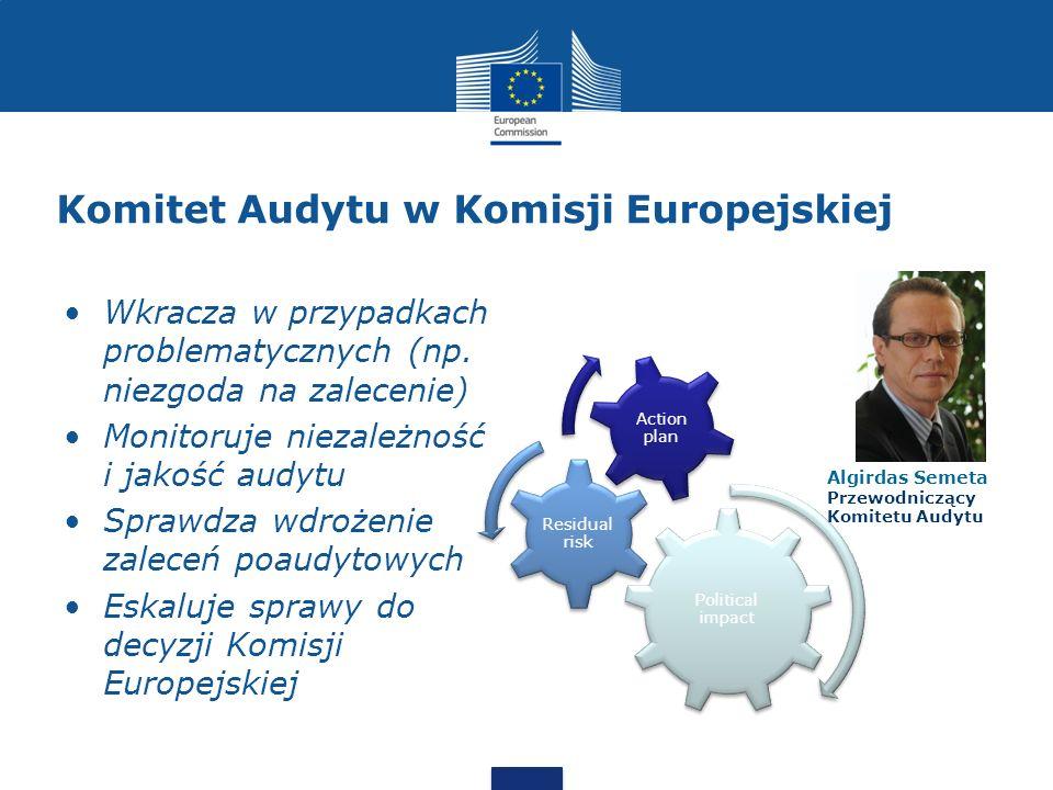 Komitet Audytu w Komisji Europejskiej Wkracza w przypadkach problematycznych (np. niezgoda na zalecenie) Monitoruje niezależność i jakość audytu Spraw