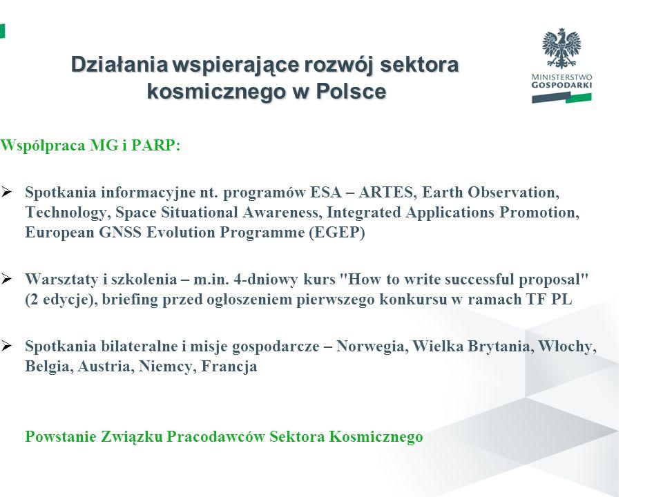 Działania wspierające rozwój sektora kosmicznego w Polsce Współpraca MG i PARP: Spotkania informacyjne nt. programów ESA – ARTES, Earth Observation, T