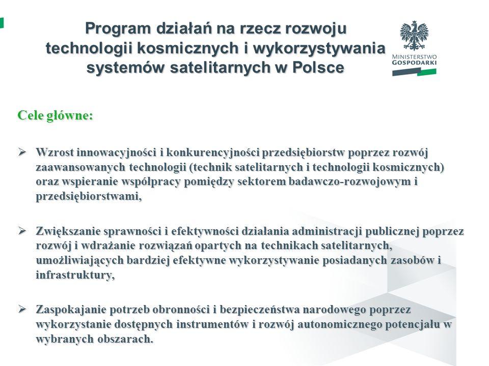 2 Program działań na rzecz rozwoju technologii kosmicznych i wykorzystywania systemów satelitarnych w Polsce Cele główne: Wzrost innowacyjności i konk
